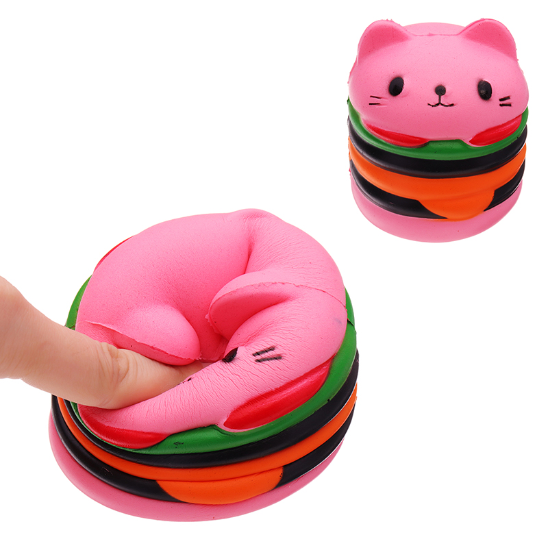 Squishy Pink Cat Burger Slow Rising Soft Animal Collect
