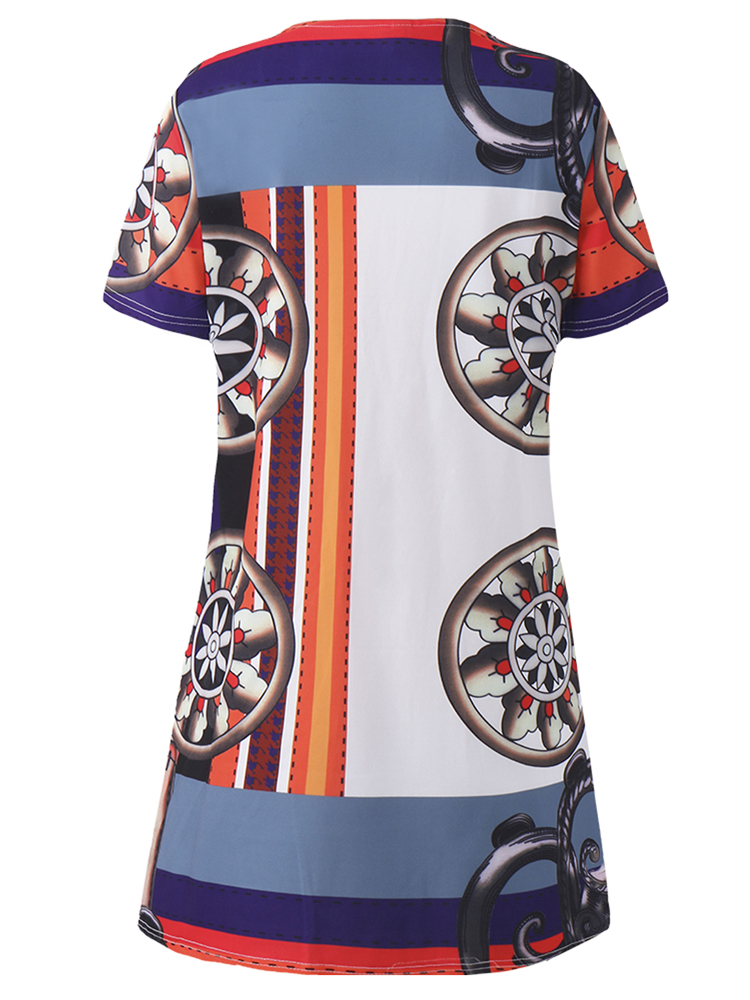 Elegant Women O-Neck Short Sleeve Printed Straight Dress