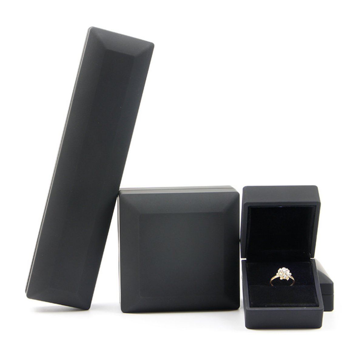 LED Lighted Earring Ring Gift Jewelry Box Jewelry Display Case For Wedding Engagement