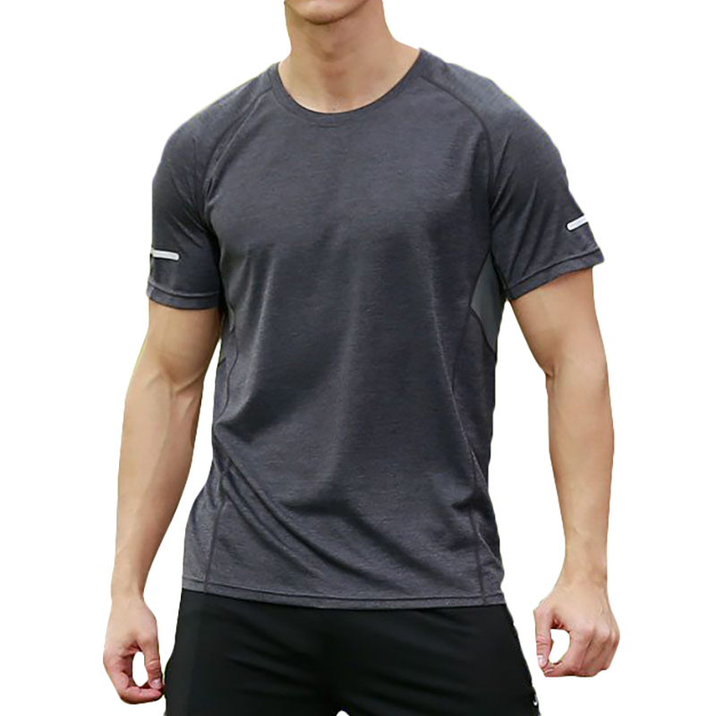 Mens Color Blocking Splicing Quick Drying Sports T-Shirts