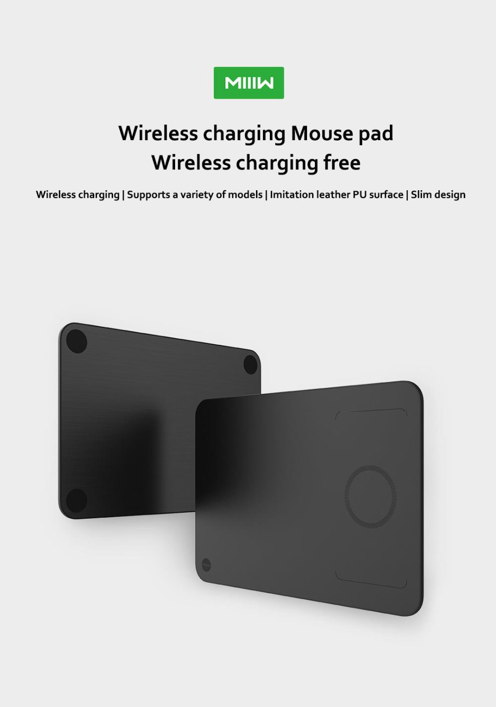 Xiaomi MIIIW Qi Wireless Charger PU Leather Mouse Pad For iPhone Samsung Xiaomi Huawei