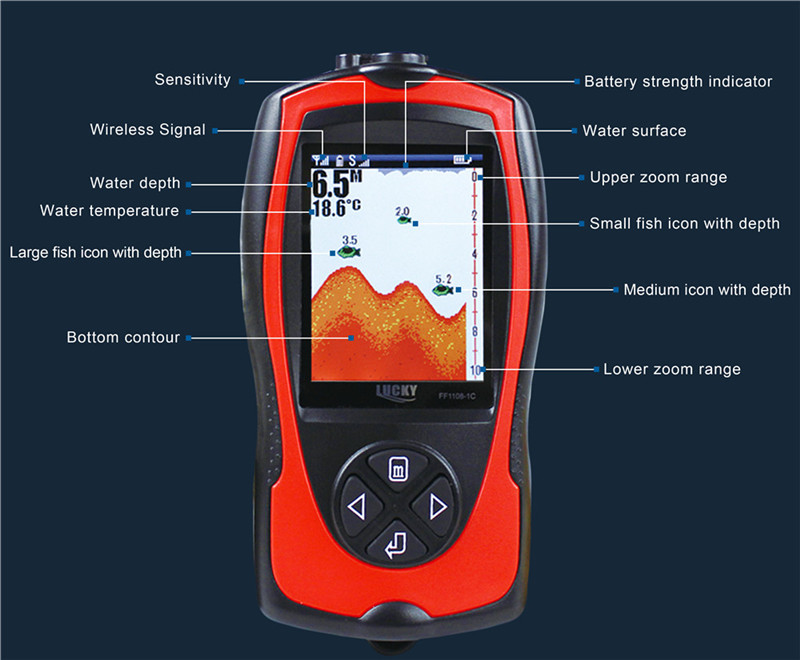 Lucky FF1109-1CW 147ft 45m Water Depth Wireless Fish Finder Waterproof Sounder Sonar