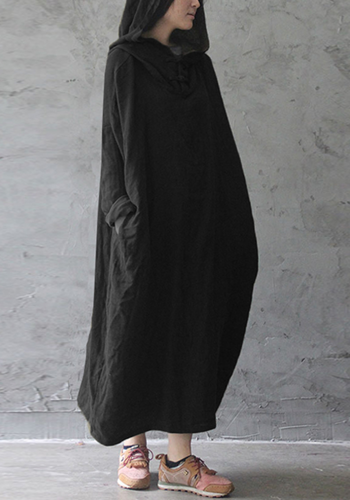 S-5XL Ethnic Women Plate Buckle Hooded Vintage Maxi Dress