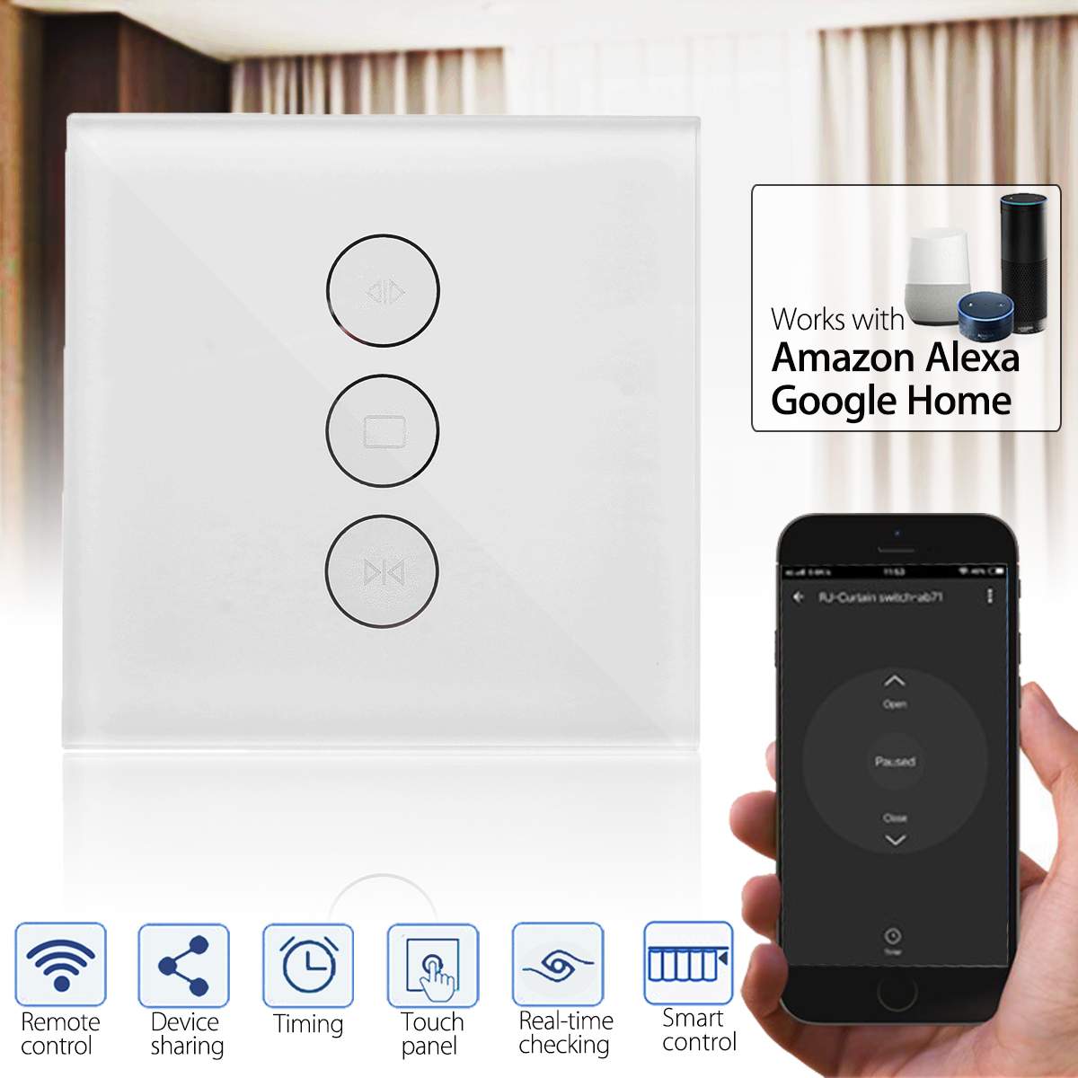 100-240V Smart WiFi Curtain Wall Switch Wall Socket Switch Panel Work With Alexa Google Home