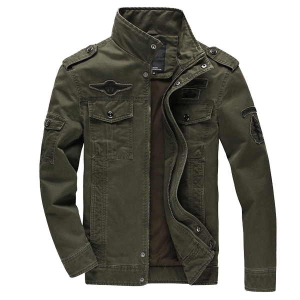 Mens Epaulet Military Cotton Multi-pocket Stand Collar Coat