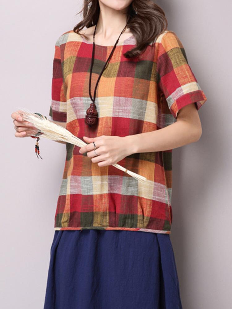 Folk Style Elegant Women Plaid Check Cotton Linen T-shirt