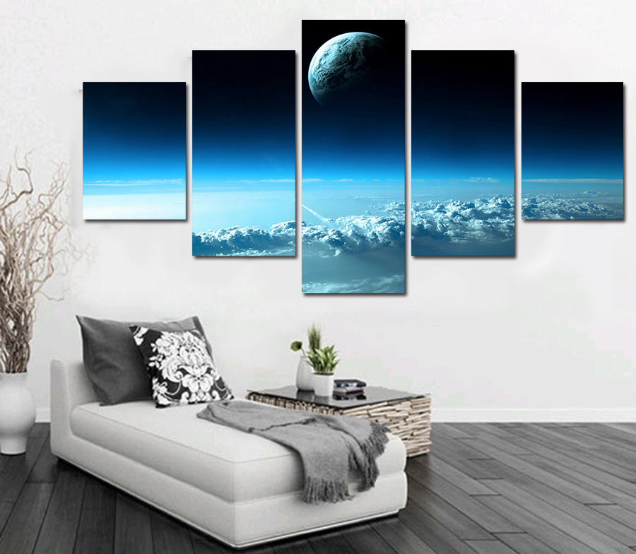 5 Cascade The Moon's Beauty Picture Canvas Wall Painting Picture Home Decoration Without Frame Incl