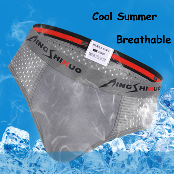 Mesh Breathable Ice Silk Soft Cool Comfortable U Convex Briefs for Men