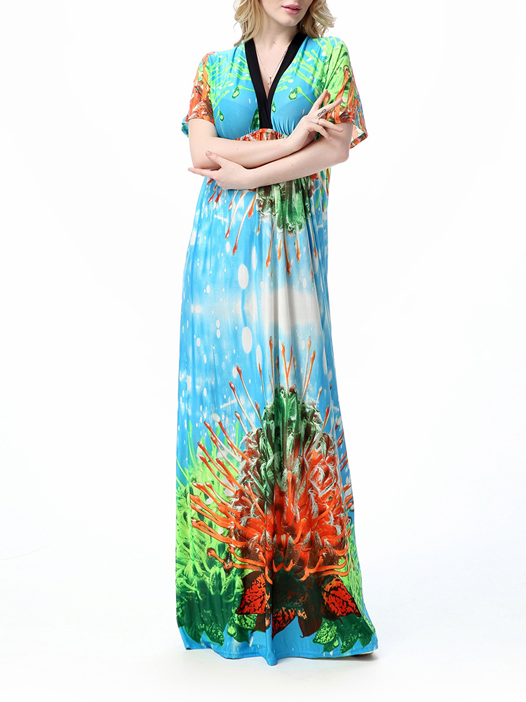 Plus Size M-5XL Bohemian Floral Printed V Neck Backless Women Maxi Dress