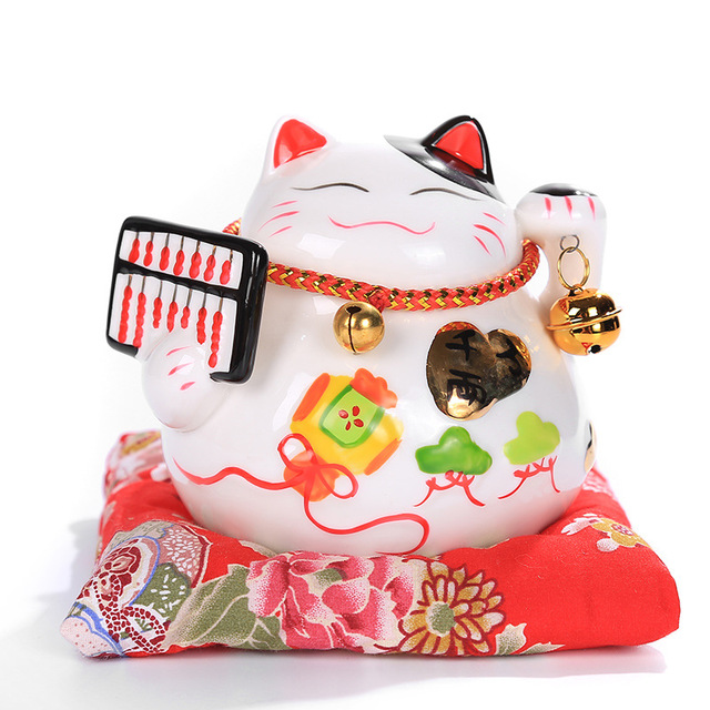 4.5 Inch Ceramic Lucky Cat Ornaments Small Piggy Bank Opening Ornaments Housewarming Wedding Home Shop Gifts