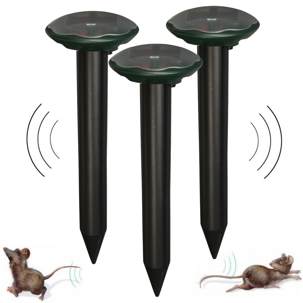 3x Solar Power Ultrasonic Pest Repeller Yard Animal Mouse Mole Rodent Repellent Snake-repelling Device