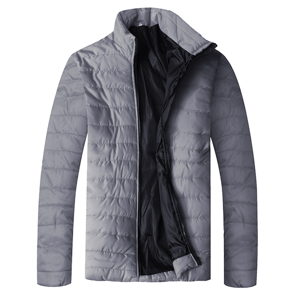 Mens Stand Collar Solid Color Fashion Casual Padded Jacket