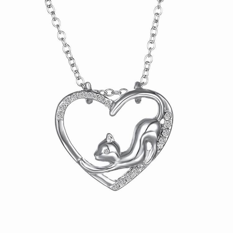 Women Heart Crystal Silver Necklace Lovely Cat Chain Je