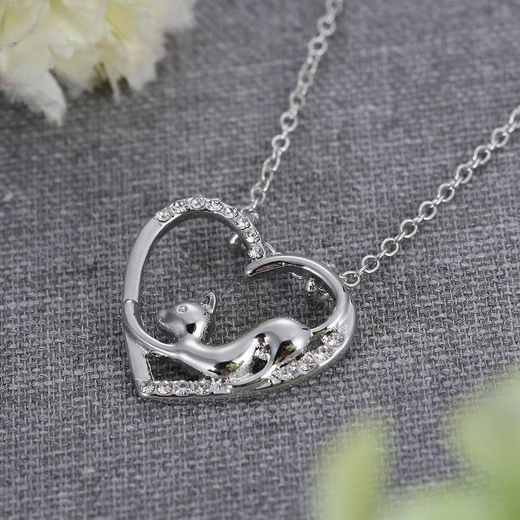 Women Heart Crystal Silver Necklace Lovely Cat Chain Jewelry Gift