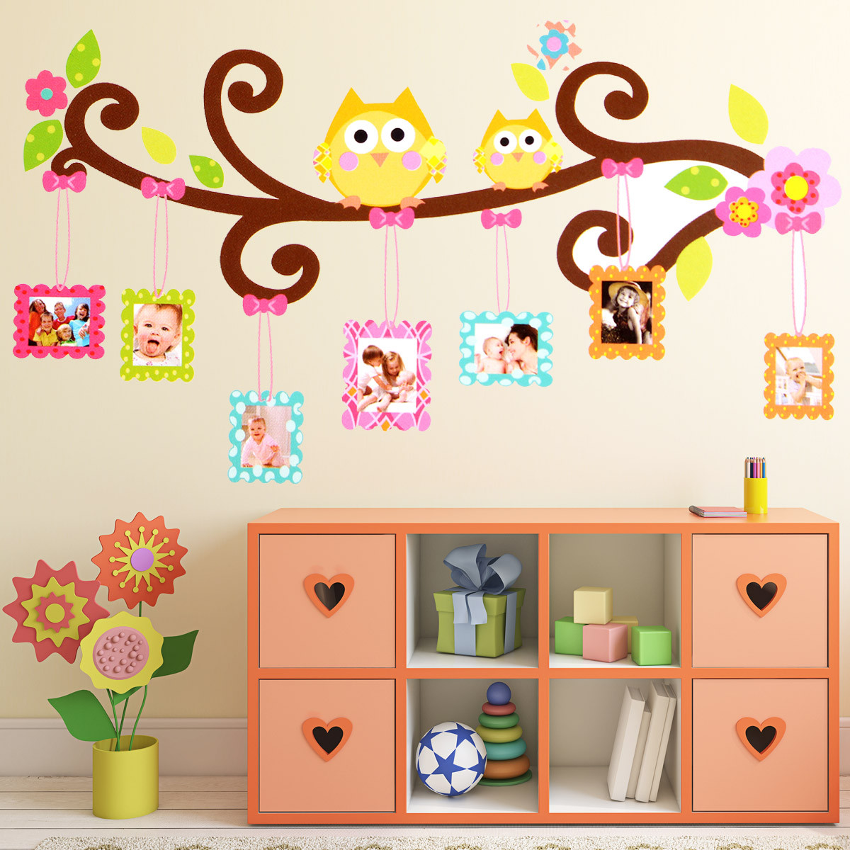 Owl Flower Tree Photo Frame Wall Sticker Vinyl Art Decal Kids Room Nursery Decor