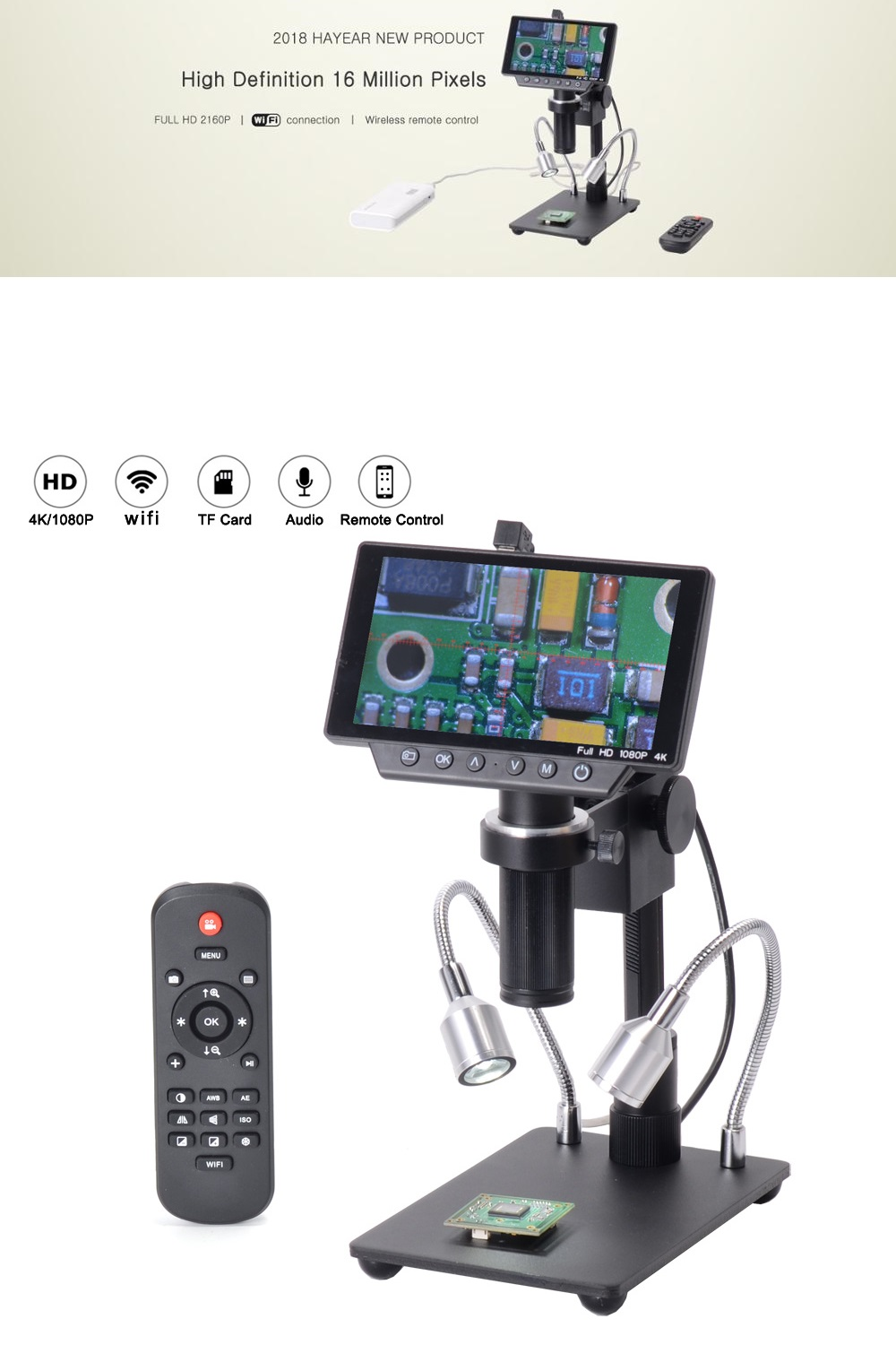 HAYEAR HY-1070 5 Inch Screen 16MP 4K 1080P 60FPS USB & WIFI Digital Industry Microscope Camera 150X C-mount Lens 1/2.3 Image Sensor