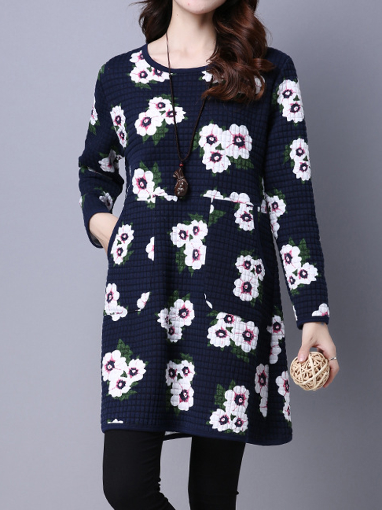 Vintage Floral Printing Long Sleeve Thick Women Loose Cotton-Padded Dress