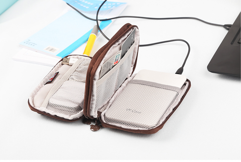 BUBM QXD-D Bear Shape Portable External Hard Drive Carrying Bag Cable Organizer for 2.5 Inch External Hard Drive USB Cable USB Flash Drive SD Cards