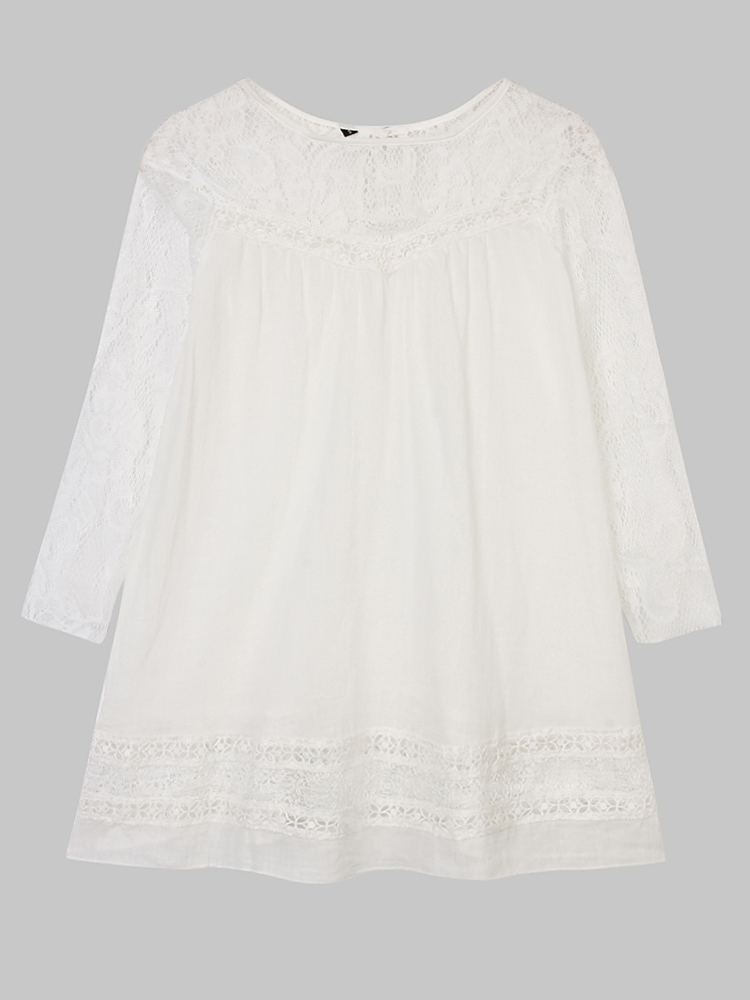 Casual Women Vintage Lace Stitching 3/4 Sleeve Shirt Dress