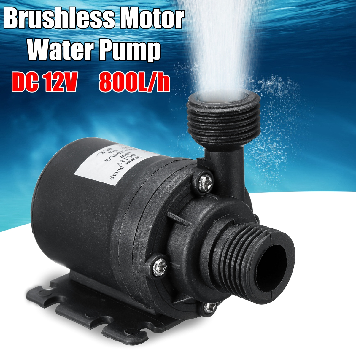 800L/H 12V DC 5M Submersible Hot Water Circulation Pump Solar Brushless Motor