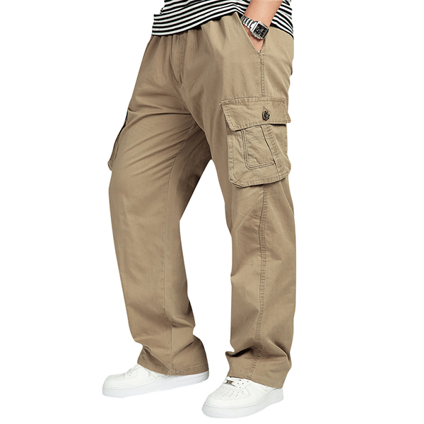 Mens Multi Pocket Casual Pants Cotton Overalls Pants Plus Size Cargo Pants