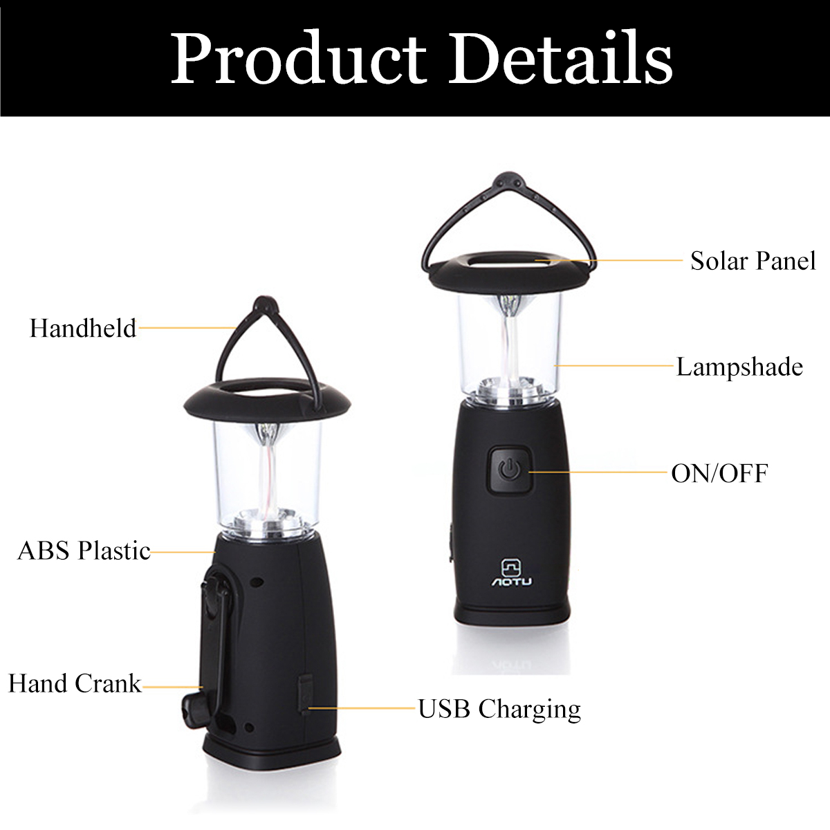 Outdoor Solar Hand Crank Dynamo Powered LED Lantern Camping Tent Emergency Flashlight