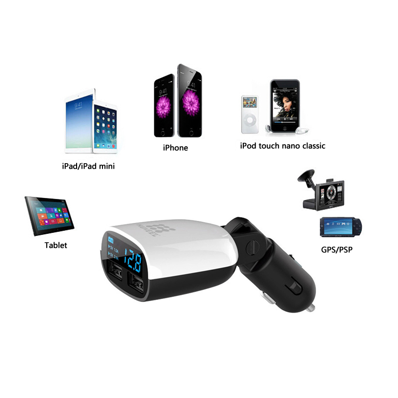 Haweel QC3.0 3.4A Dual USB Ports LED Current Display Swing Head Design Car Charger for Xiaomi 6 S8