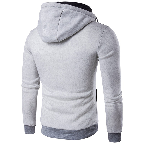 Fashion False Two Mens Leisure Personality Zip Hooded Hoodies Long Sleeved Sweater