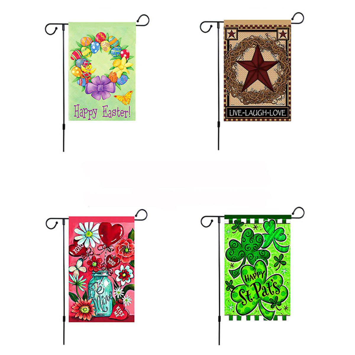 45'' x 15'' Iron Mini Garden Flags Pole Stand Holder Yard Decorations Display