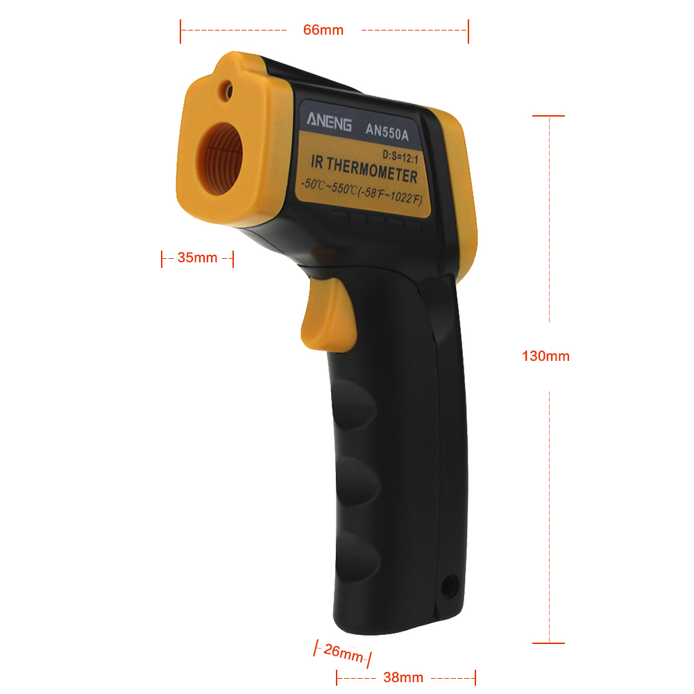 ANENG AN550A Digital Infrared Thermometer Non-Contact Laser Gun Pyrometer Temperature Meter -50~550℃