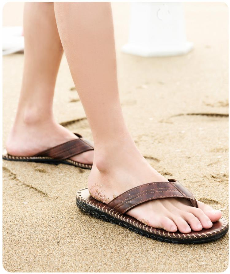Men Casual Anti-slip Slippers Summer Beach Flat Soft Comfortable Flip Flop Sandals Leisure Shoes