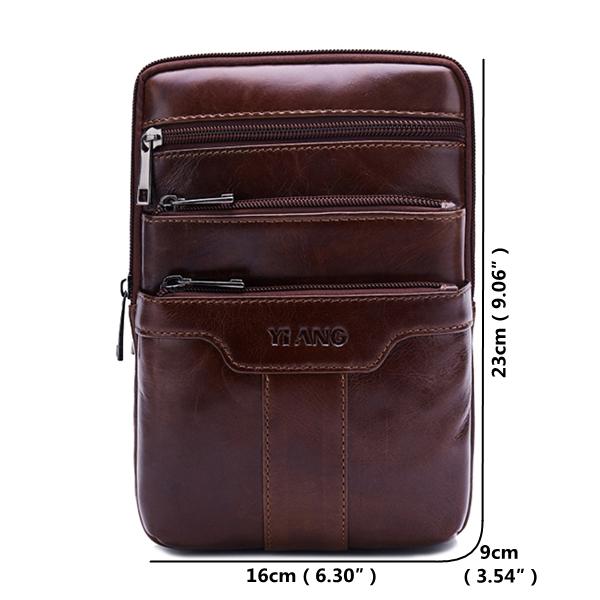 Men Genuine Leather Business Multi-functional Crossbody Bag