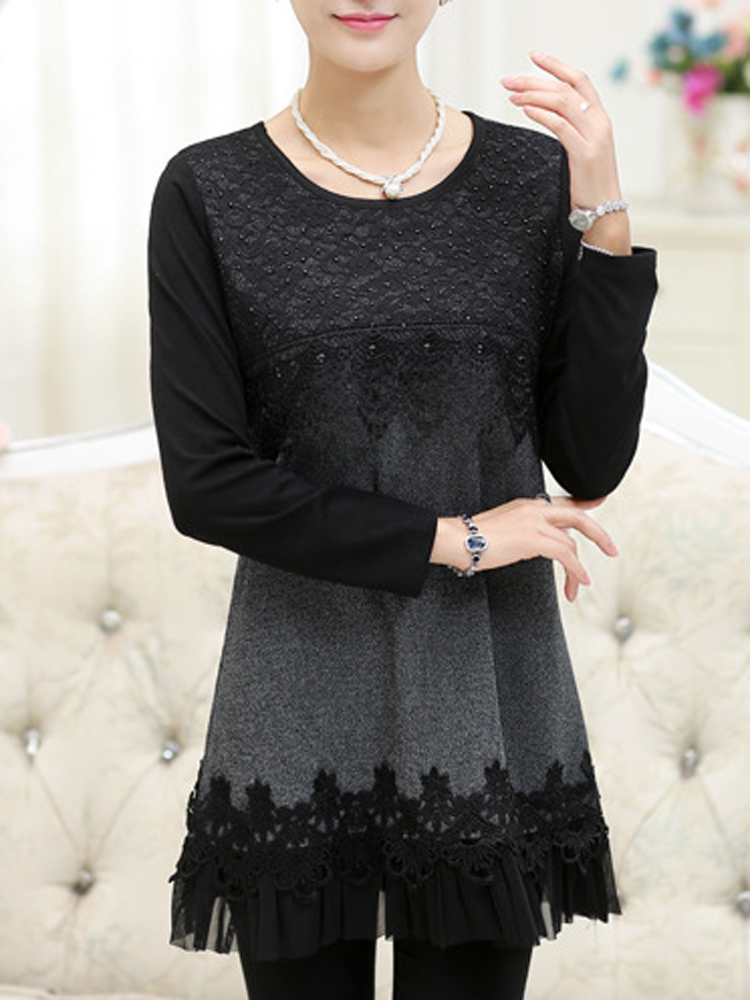 Casual Patchwork Lace Long Sleeve Slim Women Knitted Shirt