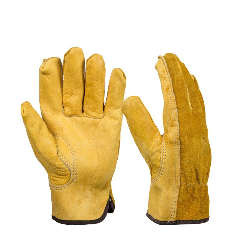 1Pair Leather Gloves Working Protection Gloves Security Garden Labor Gloves Wear Safety Tools