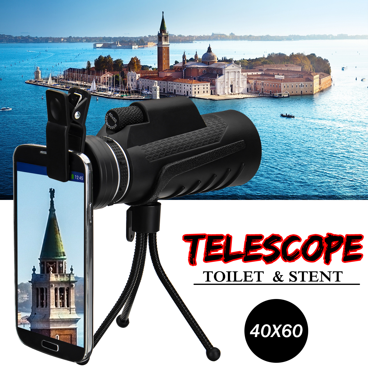 40x60 Outdoor Optical Lens Telescope With Clip Tripod For iPhone X 8Plus OnePlus 5 Xiaomi 6 Note 8