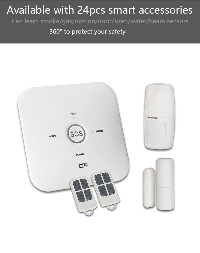 Bakeey A1 433Mhz & GSM & 2.4G WIFI Wireless Smart Home Security Alarm System Door & Window Sensor Human Body Detection Remote Controller