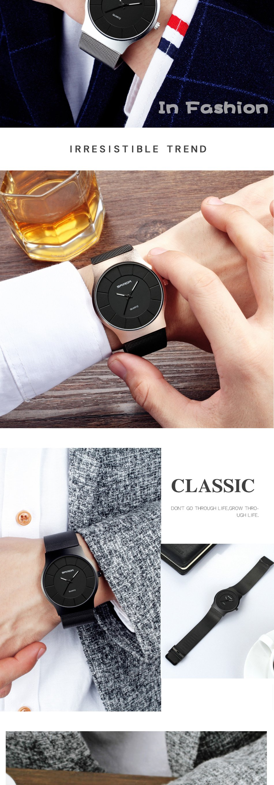 SANDA P209 Ultra Thin Fashion Men Quartz Wrist Watch