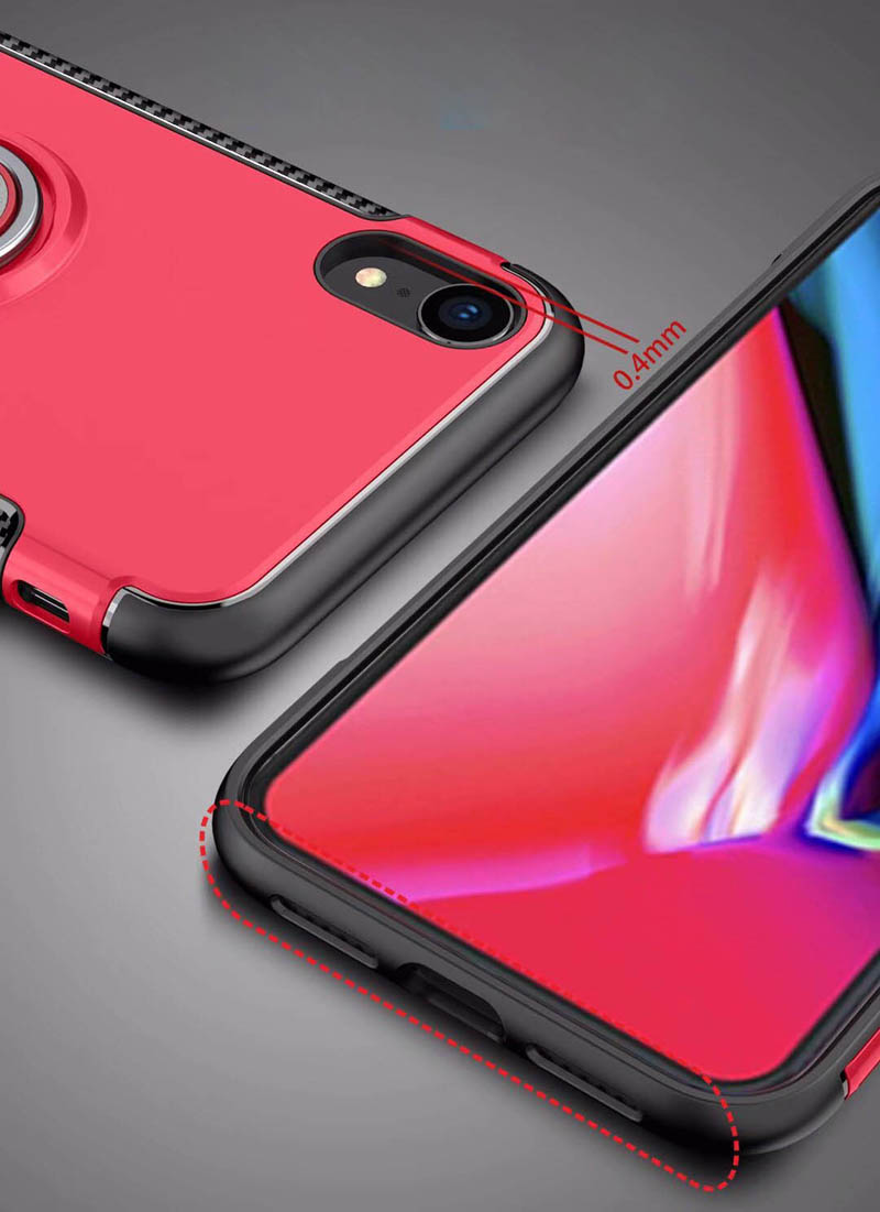 Bakeey Protective Case For iPhone XR Ring Grip Kickstand Stand Holder Back Cover