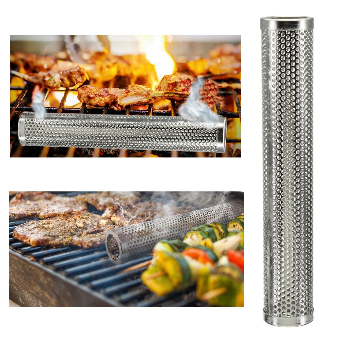 12 Inch Round BBQ Smoker Wood Pellet Grill Hot Cold Smoke Generator Smoking Mesh Tube