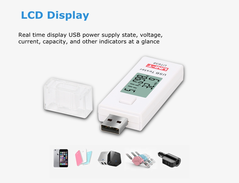 UNI-T UT658B Digital USB Testers Testable Stable Input Voltage Range From 3V to 9.0V with LCD