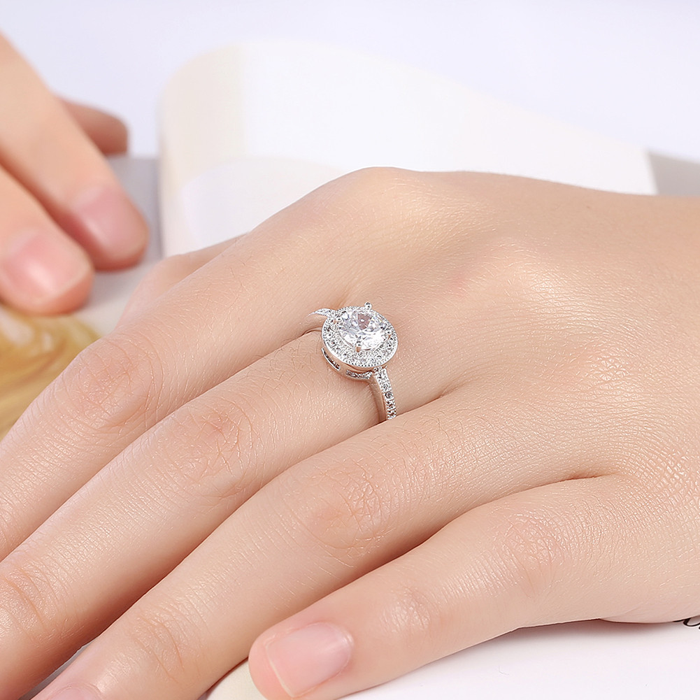 INALIS Zircon Platinum Plated Rhinestones Gift Anniversary Wedding Finger Rings