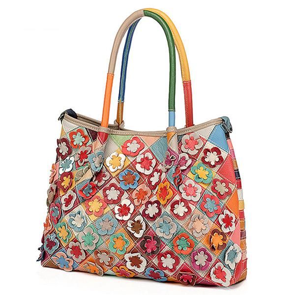 Women Patchwork Genuine Leather Flower Handbag