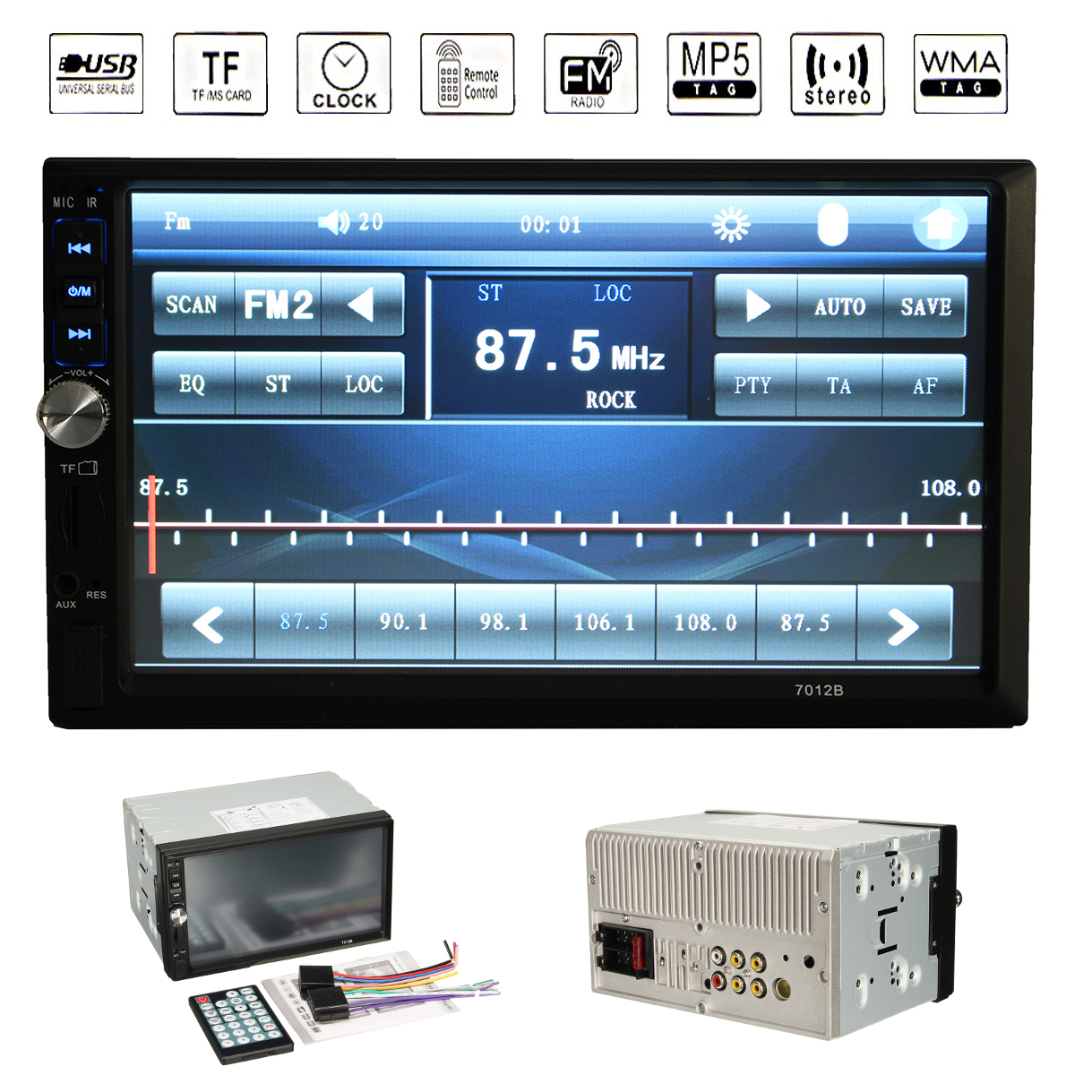7012B 7inch 2DIN Car bluetooth Touchscreen MP3 MP4 MP5 Player Video Stereo FM Aux Input