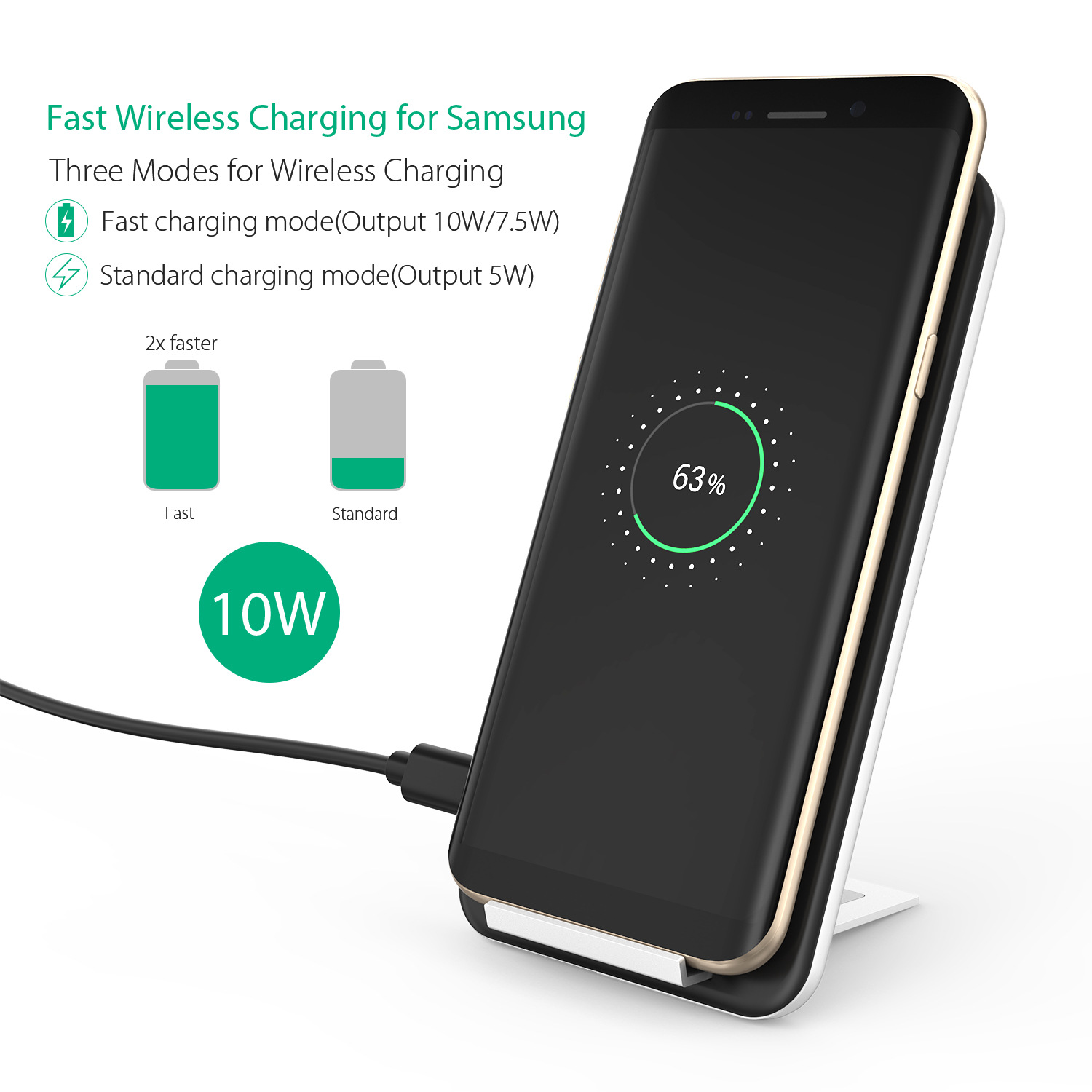 Inchor C2 10W 7.5W LED Indicator Fast Wireless Charger Charging Pad For iPhone XS MAX S9 Xiaomi Mix3