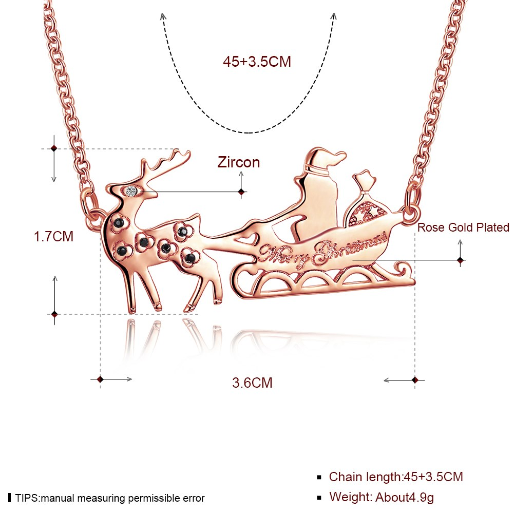 INALIS Sweet Christmas Santa Sleigh Reindeer Zircon Necklace