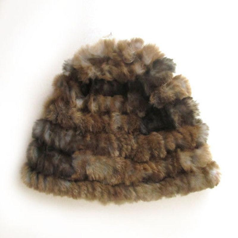 Women Ladies Fluffy Russian Cossack Hats Rabbit Fur Knitted Ski Cap