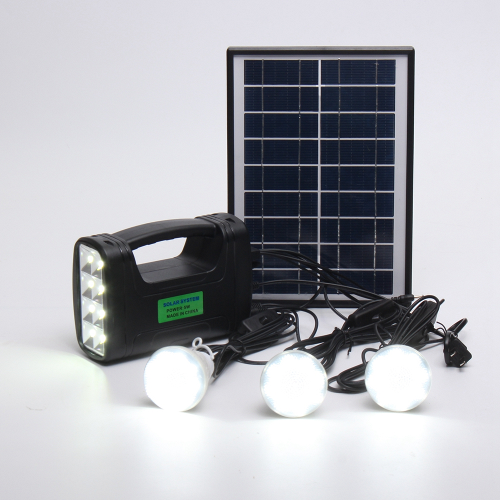 5W Portable Solar Panel Charging Generator Power System LED Camping Light for Outdoor AC100-240V