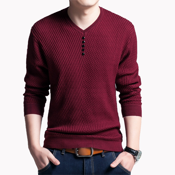 Mens Fashion knit V-collar Long Sleeve T-Shirt Casual Slim Fit Tops Tees