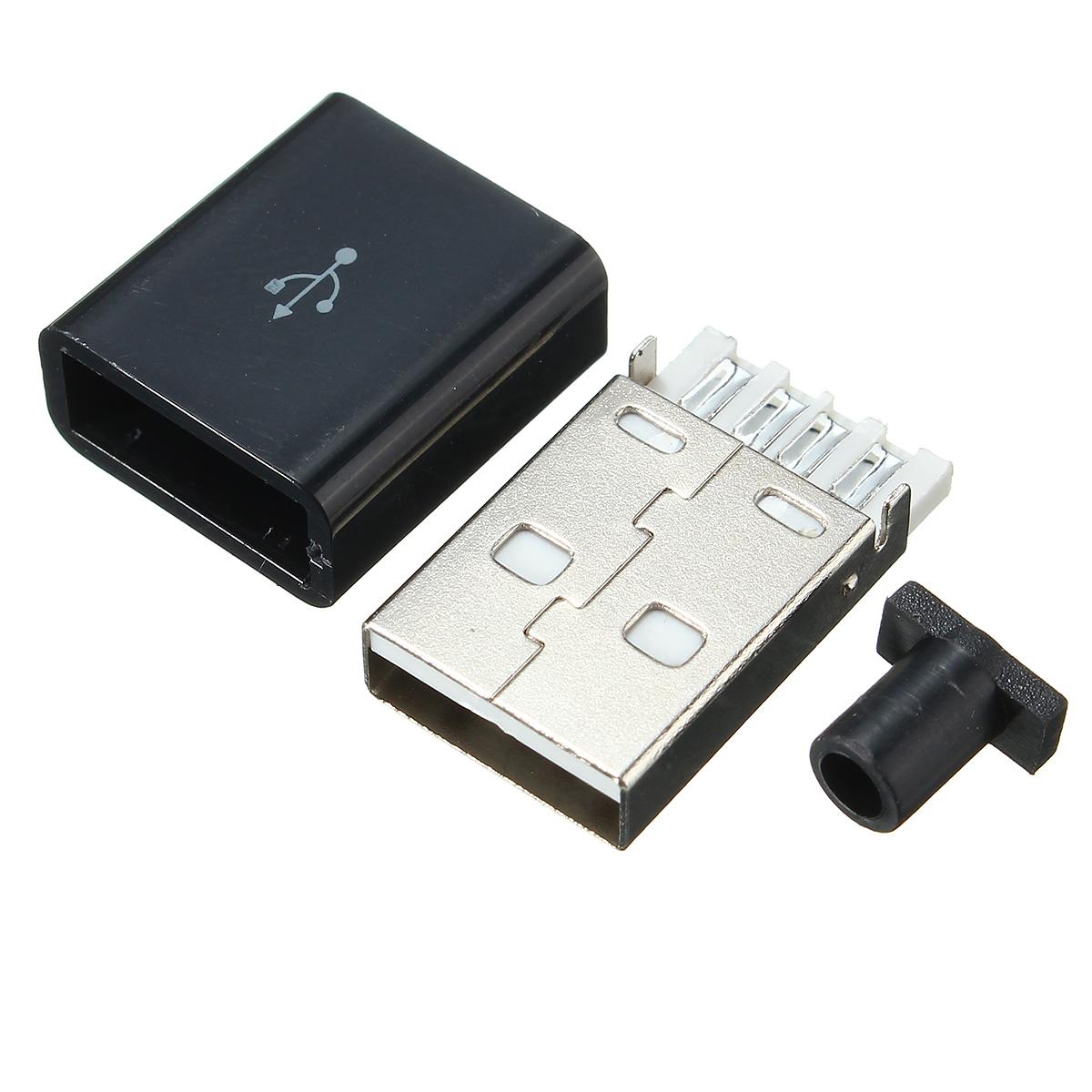 Image of 10 Stücke USB 2.0 Stecker Typ Ein Stecker 4-poliger Stecker Adapter Lötverbinder Mit Schwarzer Kunststoffabdeckung