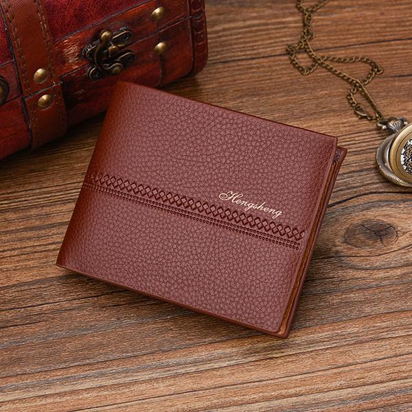 Men RFID Vintage Striped Wallet Anti Demagnetization Bi-fold Wallet Card Holder
